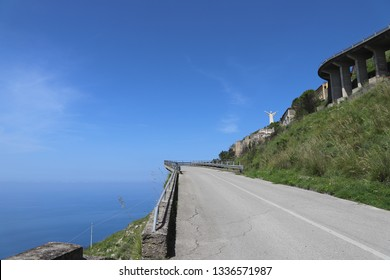 Beautiful, scenic road overlooking the sea leading to the Statue of Christ the Redeemer of Maratea
