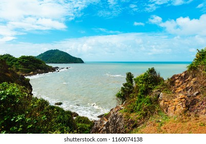 Beautiful scenic seascape with mountain and cloudy blue sky. Noen Nangphaya Viewpoint, the famous and beautiful viewpoint at Chanthaburi, Thailand