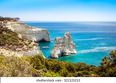 Beautiful scenic seascape view of Kleftiko rocky coastline on Milos island, Greece