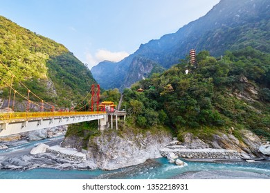 Beautiful scenic of Tianfeng pagoda with Pudu bridge by Tianxiang recreation area in Taroko national park in Hualien city, Taiwan.