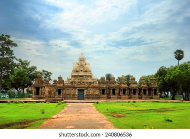 Beautiful scenic view of ancient Hindu Kanchi Kailasanathar Temple (popular tourist and pilgrim attraction) against the background of cloudy blue sky in Kanchipuram, Tamil Nadu, Southern India