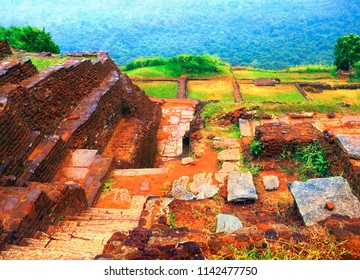 Beautiful scenic view - ancient ruined building of King Kassapa Palace in Sigiriya Fortress (Lion's Rock) - UNESCO World Heritage Site at the background of green wood, Sri Lanka island, South Asia