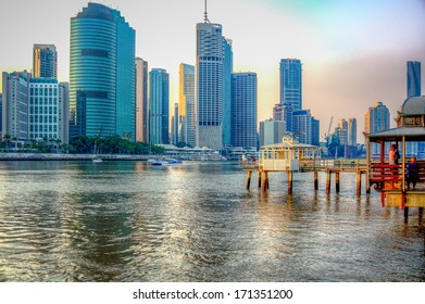Beautiful Scenic view of Brisbane River near Southbank. Golden Hour. HDR image