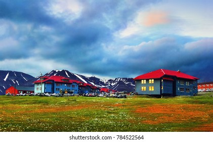 Beautiful scenic view: colorful houses, green field with white arctic flowers and black barren mountains  at the background of dramatic sky in Longyearbyen, Spitsbergen island, Svalbard, Norway
