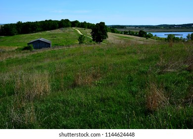 A beautiful scenic view from a high area showing the fields and marsh area at Horicon Marsh, Wisconsin.