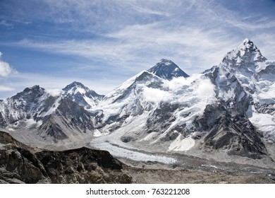Beautiful scenic view of Khumbu Icefall and Mount Lhotse with blue sky in the background along Everest Base Camp trek near Gorak Shep village in the Himalayan mountain range in Nepal