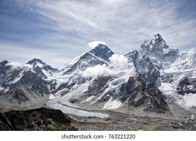 Beautiful scenic view of Khumbu Icefall and Mount Lotse with blue sky in the background along Everest Base Camp trek near Gorak Shep village in the Himalayan mountain range in Nepal