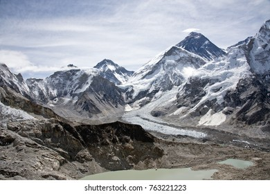 Beautiful scenic view of Khumbu Icefall and Mount Lotse with blue sky in the background along Everest Base Camp trekking near Gorak Shep village in the Himalayan mountain range in Nepal
