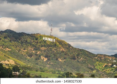 Beautiful scenic view of Los Angeles Hollywood Hills and Sunset Blvd, before sunset