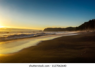 Beautiful and scenic view of Rialto Beach at sunset, Olympic National Park, Washington State, USA.