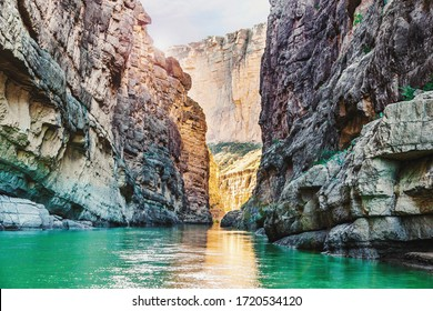 Beautiful scenic view of the Rio Grande River in Big Bend National Park at the border with Mexico