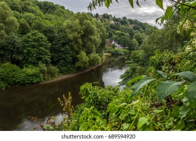 beautiful scenic view of the river severn through the trees, trees and bushes can be seen at both sides of the image