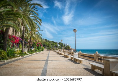 Beautiful scenic view of the seafront promenade in Sitges. Catalonia, Spain