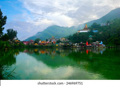 Beautiful scenic view - serene lake Tsopema in Rewalsar (Trisangam) - sacred city for three major Dharma religions - Hinduism, Buddhism and Sikhism, Mandi district, Himachal Pradesh, Northern India