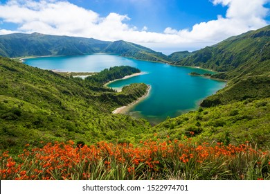Beautiful scenic view of turquoise water of Lagoa do Fogo (Lake of Fire) on sunny summer day. Blooming flowers in foreground in Sao Miguel island, Azores, Portugal.