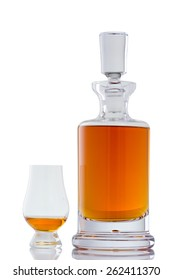 Beautiful Scotch Whisky in a Crystal Decanter with a Glencairn Glass