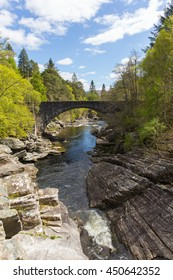 Beautiful Scotland uk Invermoriston bridge crossing the River Moriston falls and located north of Fort Augustus on the A82