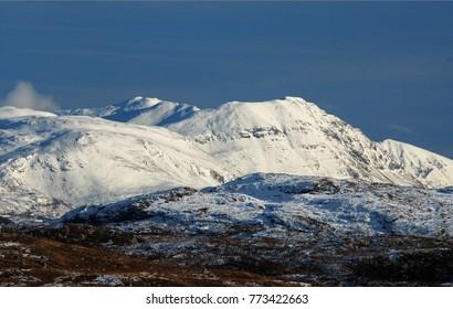 Beautiful Scottish Highlands Snowy Mountains, Nature Landscape of Scotland, United Kingdom