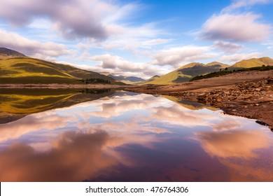 Beautiful Scottish Lake with reflections