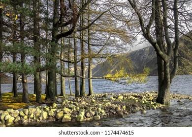 Beautiful scottish landscape. Shore of Loch Muick in Cairngorms National Park. Royal Deeside, Ballater, Aberdeenshire, Scotland, UK.