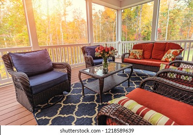 Beautiful screened in porch during the fall