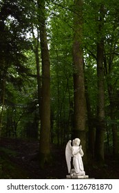 Beautiful sculpture of an angel in the park. Morshyn, Ukraine.
