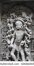 Beautiful sculpture inside Rani Ki Vav, which is a UNESCO World Heritage Site located in Patan, Gujarat, India. It was built by Queen Udayamati, wife of Bhimdeva-1 (AD 1022-1063).