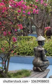 Beautiful sculpture of a man in the garden
