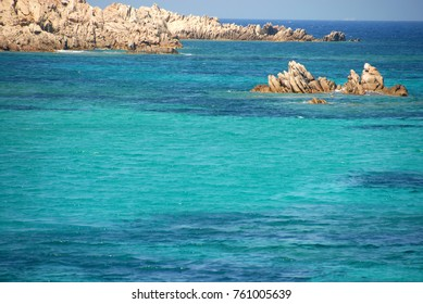 The beautiful sea of ??Sardinia in the archipelago of Maddalena. In this photo a detail of Cala Corsara and the beautiful blue of the sea