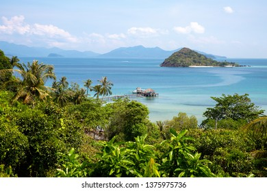 Beautiful sea and blue sky with Koh Kham island from the mountain view point at Koh Mak island, Trat, Thailand