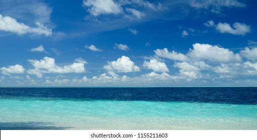 Beautiful sea and blue sky in panorama view