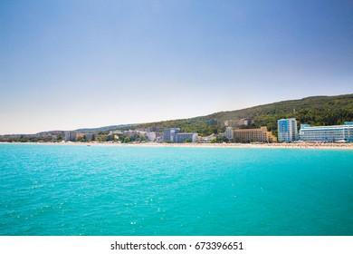 Beautiful sea coast, Sea beach, resort area in sunny weather in Bulgaria, golden sands