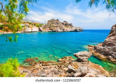 Beautiful sea coast with turquoise water in Agios Pavlos, Crete island, Greece.