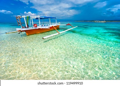 Beautiful sea and coastlines of Gili Meno, Indonesia.