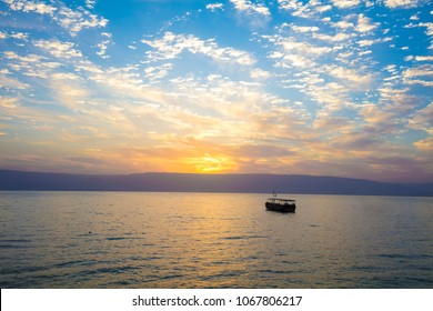 Beautiful Sea of Galilee in the morning. Sunrise over Kinneret