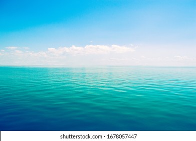 Beautiful sea horizon on a background of blue sky close up