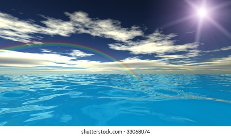 Beautiful sea landscape. 3d render