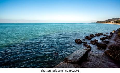 Beautiful sea landscape in Ajaria, Georgia. View on Batumi city - 24.11.2016.