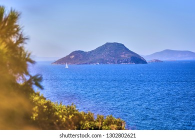 Beautiful sea landscape with blue sky on sunny day in Bodrum, Turkey. Vacation Outdoors Seascape Summer Travel Concept