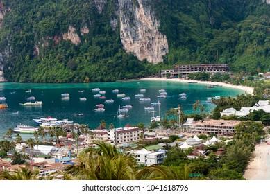 Beautiful sea landscape and high-speed boat at Ko Similan island