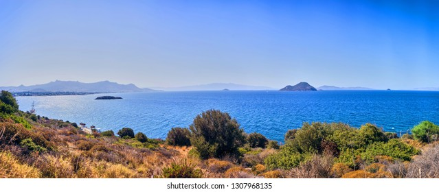 Beautiful sea landscape panorama with blue sky on sunny day in Bodrum, Turkey. Vacation Outdoors Seascape Summer Travel Concept