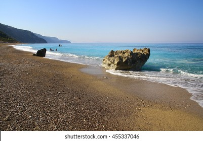 beautiful sea landscape with rocks in a sunny day, ionian sea beach, Greece