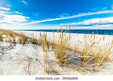 Beautiful sea landscape. Sandy beach and sand dune with grass, Leba, Baltic Sea, Poland
