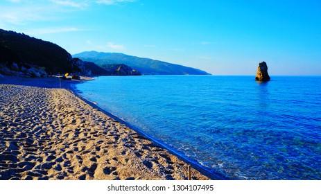 Beautiful sea at Melani Beach, near Volos, Greece