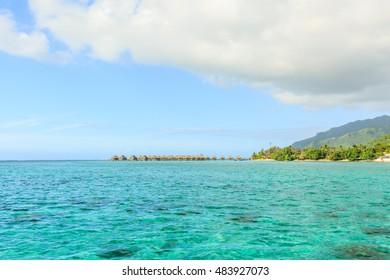 Beautiful sea and Moorae Island at Tahiti , PAPEETE, FRENCH POLYNESIA