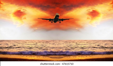 Beautiful sea nature landscape on the sunrise sky with airplane