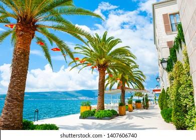 Beautiful sea promenade in Tivat, Montenegro. Kotor bay, Adriatic sea. Famous travel destination.