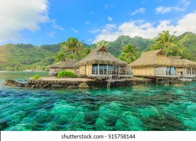 The Beautiful sea and resort in Moorea Island at Tahiti PAPEETE, FRENCH POLYNESIA.