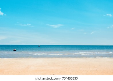 Beautiful Sea with sand beach and blue sky, summer or holiday concept