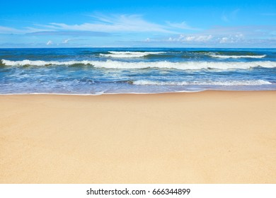 Beautiful sea and sandy beach on a Sunny summer day. Copy space